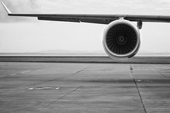 """""""Departure"""" (helmet13) Tags: d700 raw bw seychelles airport aircraft wing engine departure parkingposition a340500 aoi heartaward peaceaward 100faves world100f simplicity"""