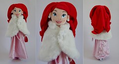 The Little Mermaid Winter Dress Up Soft Toy Doll - UK Disney Store Purchase - Standing With Cape - Front and Rear Views (drj1828) Tags: uk pink winter ariel eric doll dress plush cape gown disneystore thelittlemermaid dollset
