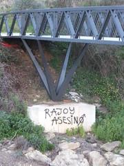 Rajoy Asesino (stevenbrandist) Tags: bridge graffiti spain politics espana unhappy rajoy asesino algeciras rojoyasesino