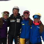 Max Kirshenblatt of WMSC poses with Quebec girls after finishing 3rd in men's super-G at 2014 Whistler Cup
