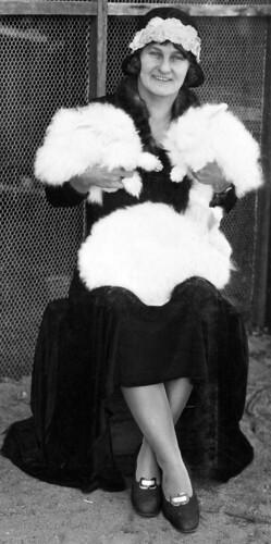 Mrs Harris and her Angora rabbits, Belmont 1931