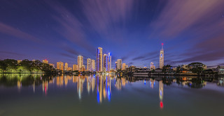 Surfers Paradise blue hour from Nerang river