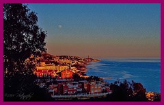 Evening in Malaga (Rollingstone1) Tags: malaga spain sea evening noche art colour view landscape moon coast andalucia sky tree houses buildings coastline night andalusia mediterraniansea