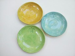 Stamped sea turtle plates... (Elizabeth's Pottery) Tags: ocean blue summer green yellow island ceramics handmade plate coastal pottery seaturtle beachhouse loggerhead dinnerware elizabethhayes elizabethhalderson elizabethhayeshalderson