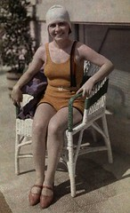 1936 - A woman sits in a chair ready to swim at the Lido (Bucharest) (narcis_gabriel) Tags: venice people italy female swimming vintage outdoors one clothing women europe adult romania daytime youngadult bucharest easterneurope swimwear oneperson westerneurope lido frontview headgear veneto activewear traditionalclothing youngadultwo
