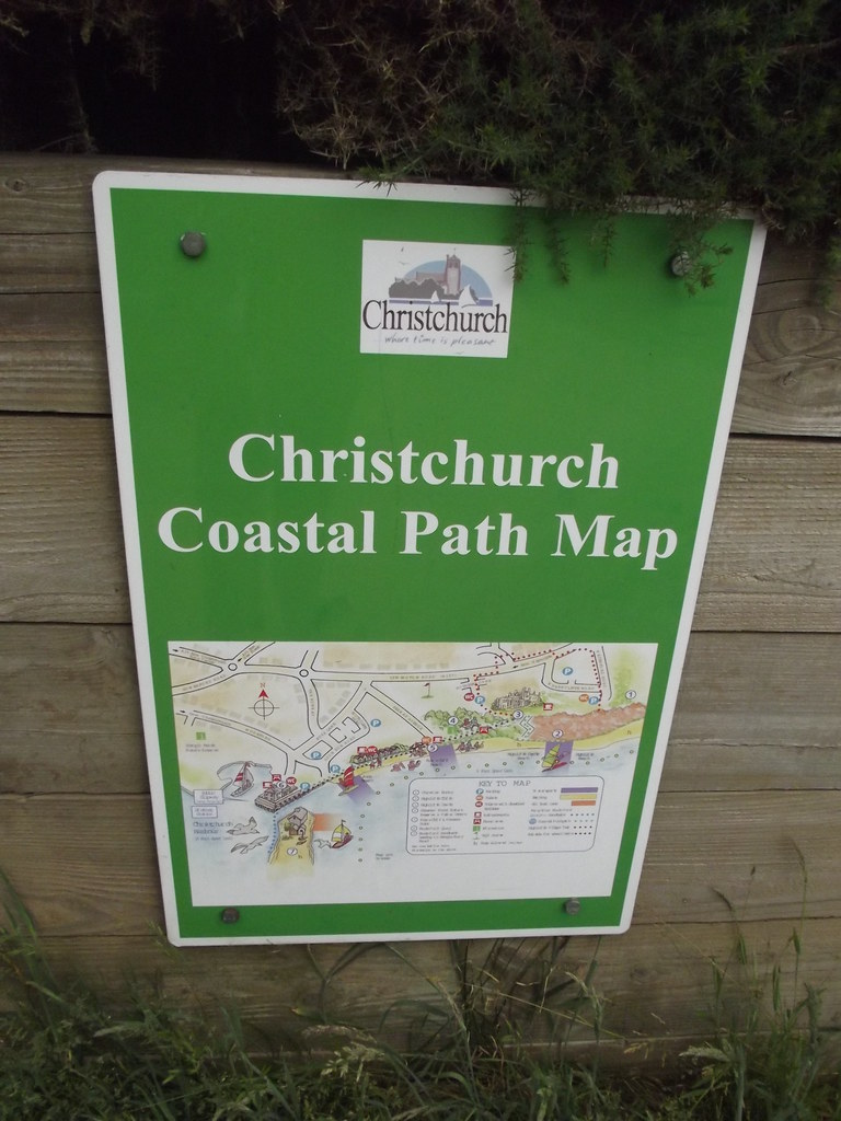 Highcliffe Castle Beach - Zig-Zag path to beach - sign - Christchurch Coastal Path Map