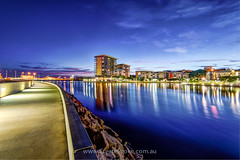 Waterfront reflections (CreateEvoke) Tags: blue water skyline night reflections lights evening cityscape waterfront calendar walkway 365 footpath hdr australianlandscapephotography darwinlandscapephotography northernterritorylandscapephotography