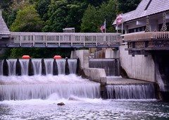 Water like silk . . . (Dr. Farnsworth) Tags: summer blur water mi river leland saturday tourists falls fishtown august2013