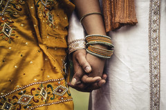 Together (Vemsteroo) Tags: wedding woman man macro love loving canon groom bride engagement holding hands indian marriage 100mm nails usm closeness gesture hindu eastern sari f28 cultural bangles commitment 6d sherwani weddingphotography dupatta