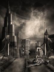Terminated (chiaralily) Tags: city bridge tower collage photoshop dark dubai cityscape frankfurt digitalart manipulation fantasy scifi arrows terminator tutorial itsanaddiction obsidiandawn chiaralily