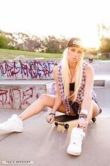 IMG_0168 (mozzie71) Tags: park sunset summer sun hot girl graffiti model australian young obey cap skate blonde skateboard skater shorts aussie sk8 sk8r sleeveless flanny