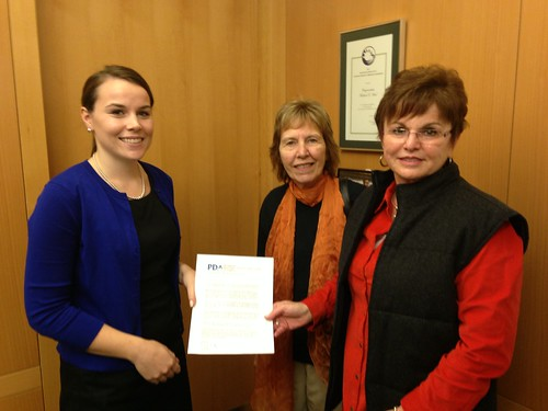 Liz Quigley (L) Michelle Marantz (R) dropping Educate Congress Letter to Rep Jim McGovern (MA)