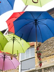 Umbrellas - London (dorsetbays) Tags: uk pink blue autumn red england green london rain yellow umbrella october parasol boroughmarket umbrellas southwark