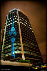 Sky Tower Reflection (Geoff Trotter) Tags: newzealand sky reflection tower night canon auckland nighttime nz 50d geofftrotter stunningphotogpin skytowerreflection