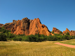Red Rocks (Batikart) Tags: travel blue autumn trees light red vacation sky usa sun mountain holiday moun