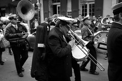 3rd line bone (Eli Mergel) Tags: horses cops neworleans parade frenchquarter newyears nola marchingband newyearsday secondline