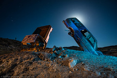 The Burrow Brothers (dejavue.us) Tags: longexposure nightphotography lightpainting abandoned nikon desert nevada fullmoon nikkor d800 goldfield 1835mmf3545d vle carforest intothenightaward