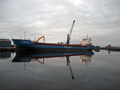 Wilson Saga reflections (PhillMono) Tags: reflection scotland ship olympus cargo wilson leith saga e30 freighter