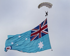 Parachute Demonstration (raymie.sherring) Tags: flag australia demonstration raaf militaryaviation centenary parachutedisplay pointcookairshow