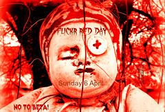 FLICKR RED DAY (silwittmann) Tags: red brazil sculpture texture sc brasil protest florianopolis criacuervos silwittmann netartii flickrblackday