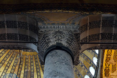 Capital and arches, Hagia Sophia (profzucker) Tags: architecture mosaic minaret istanbul mosque dome ottoman orthodox hagiasophia byzantine constantinople easternorthodox justinian isidore revetment miletus tralles pendentive semidome anthemius pencilminaret