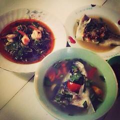 แก่นตะวันผัดกุ้ง ปลานึ่งมะนาว ต้มยำทะเล อร่อยมากกกกก 55555 ฟิน #proudpuntha #praemai #pm #food #thaifood #dinner #zapp #spicy #tomyamseafood #seafood