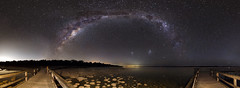 Milky Way Panorama - Lake Clifton, Western Australia (inefekt69) Tags: longexposure nightphotography sky panorama lake water night rural stars ancient nikon outdoor space australia tokina explore southern galaxy astrophotography perth astronomy geology dslr 11mm clifton cosmos westernaustralia core cosmology mandurah milkyway southernhemisphere ptgui lakeclifton explored thrombolites 1116mm greatrift d5100