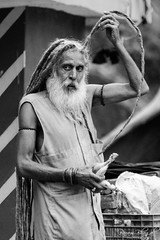 Dreadlocks Sadhu! (_DSF0756) (Param-Roving-Photog) Tags: road old blackandwhite india fruit dreadlocks hair highway banana holy sacred offering yogi hindu prasad baba himachal sadhu pradesh traveler relegious rampur jata