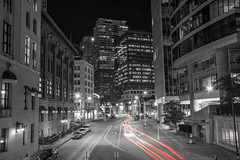 Financial District Night (bastinaaron) Tags: city night vancouver downtown bc lighttrails cordova