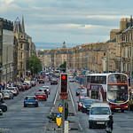 Edinburgh street as seen from the second deck of bus thumbnail