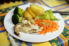 Lunch-19/05/13 (Claire.Bate-Roullin) Tags: food fish lunch potatoes student nikon diary journal broccoli lettuce carrots haddock d90