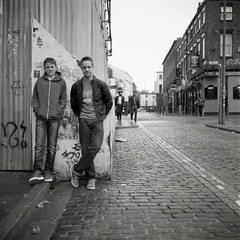 Liverpool lads (polarisandy) Tags: street portrait urban film rolleiflex liverpool square delta ilford delta400 ddx streetphotpgraphy wolstenholmecreativespace