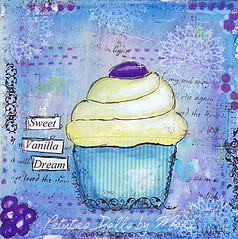 Sweet Vanilla (moki70) Tags: blue art kitchen yellow print wallart cupcake artprint mixedmediaart petitesdollsbymoki