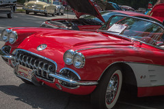 '57 Corvette (Soggy6) Tags: red white northcarolina 1957 corvette wakeforest 57vette 1957corvette wakeforestclassicantiquecharitycarshow
