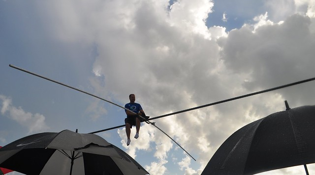 Nik Wallenda Trains for June 23, 2013 Grand Canyon Walk at Nathan Benderson Park, Sarasota, Fla., June 19, 2013