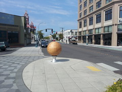 Wooden Sphere sculpture (kevynjacobs) Tags: street wood sculpture art public bay wooden downtown holly sphere bellingham rotate