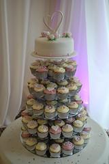 Wedding cupcake Tower (Victorious_Sponge) Tags: birthday flowers wedding tower cake hearts cupcakes cupcake romantic
