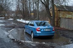 Škoda Rapid 2013 (Janitors) Tags: car puddle rapid bluecar skoda skodarapid škoda peļķe š̌koda škodarapid
