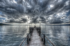High Dynamic Range on lake (Nespyxel) Tags: sky lake clouds skyscape landscape lago 3d alone cloudy hdr highdynamicrange trevignano pontile lakescape nespyxel stefanoscarselli tufototureto