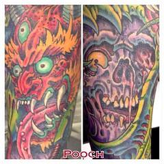 More views of Ryan's sleeve #oni #skull #onimask #onidemon