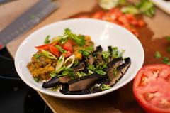 slow cooker sweet potato, lentil and kale curry with marinated grilled portobellos (defnotmartha) Tags: mushrooms vegan curry vegetarian sweetpotato kale lentils basmati