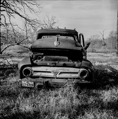 Yashica D, Acros 120 (shutterconfusion) Tags: bw ford 120 tlr truck junk d76 wreck oldie junker ratrod acros yashicad