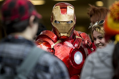 IronMan Strikes Fear and Laughter in the Crowd (blacksheep_vmf214) Tags: lighting columbus ohio man anime canon comics costume video iron mask cosplay games center ironman tony gaming convention animation hyatt lit marvel stark con industries ohayocon
