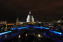 St Pauls from end of Millenium Bridge (KVH-P) Tags: nightphotography bridge england reflection london water landscape lowlight stpauls slowshutter footpath riverthames slowshutterspeed gitzotripod uklandscape d7000 nikond7000