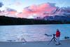 Banff photograper at Two Jack Lake (Daryl L. Hunter - Hole Picture Photo Safaris) Tags: ca canada sunrise alberta pinksky alpenglow banffnationalpark redjacket canadianrockies twojacklake happyphotographer gloriousmorning mtrundell