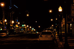 Water Street, Night Shot 1 (decorahman) Tags: photoshop raw nightshot streetlamps iowa waterstreet decorah topazdetail topazclarity toapzaadjust