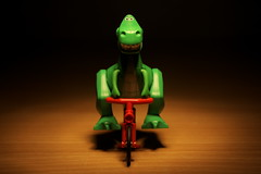 Rex and his Bike (Reiterlied) Tags: bike lego dinosaur toystory minifig rex bycicle minifigure tyrannosaur