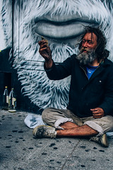Lucky Day (mikegodlewski) Tags: street money beard mural homeless streetphotography sidewalk 40oz dollarbill crosslegged