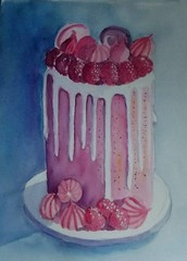 FANCY CAKE (BonnieBuchananKingry) Tags: paintings watercolor watercolorpainting cakesandcupcakes cake cakes pink fruit fancy decoratedcake macarons