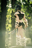 Warrior on Watch (neilcreek) Tags: beautiful cosplay forest foresworn girl outdoors outside rocks sexy skyrim tribal butt booty legs axe boots fur skin horns fierce warrior fighter rpg fantasy trees